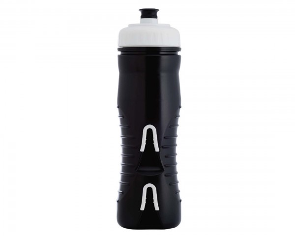 Fabric insulated cageless water bottle with integrated bottle holder 525 ml | black-white
