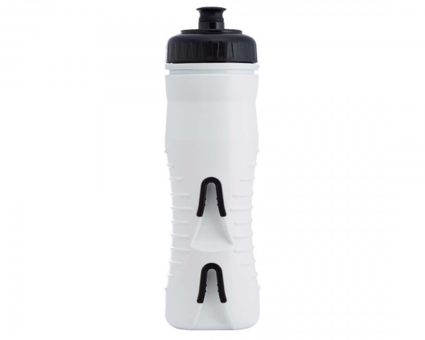 Fabric insulated cageless water bottle with integrated bottle holder 525 ml | white-black