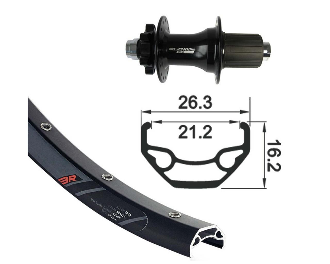 XLC Hinterrad 28/29 Zoll schwarz TA 12 6-Loch Disc   schwarz