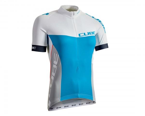 Cube Teamline WLS Jersey short sleeve | white n blue n grey