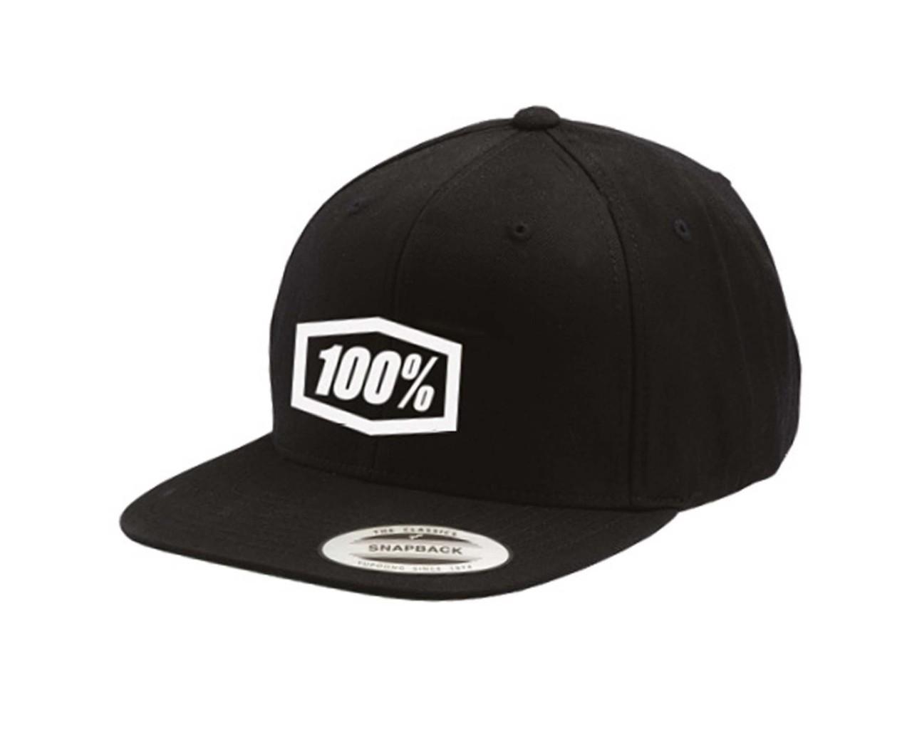 100% Essential Snapback Hat   black
