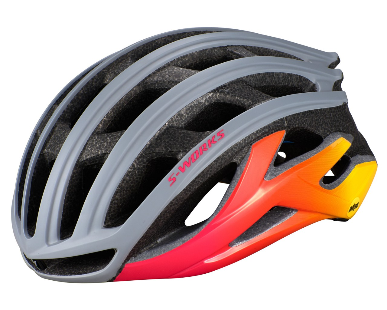 Specialized S-Works Prevail II Road Bike Helmet ANGi ready MIPS   cool grey-acid pink-golden yellow