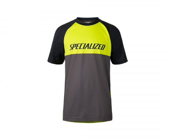Specialized Enduro Grom Jersey Youth Short Sleeve | hyper green-charcoal block