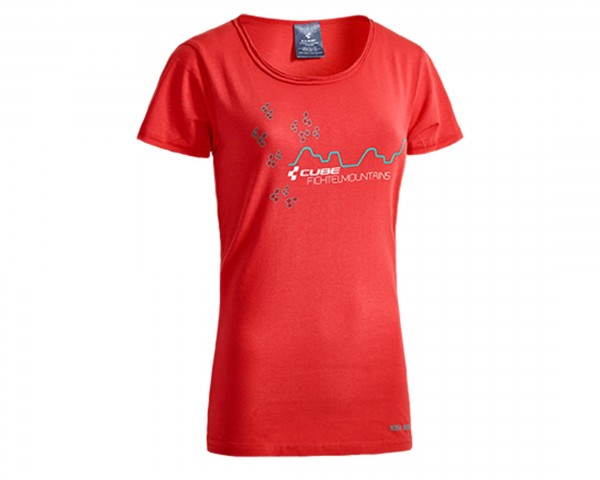 Cube WLS T-Shirt Fichtelmountains Damen After Race | rot