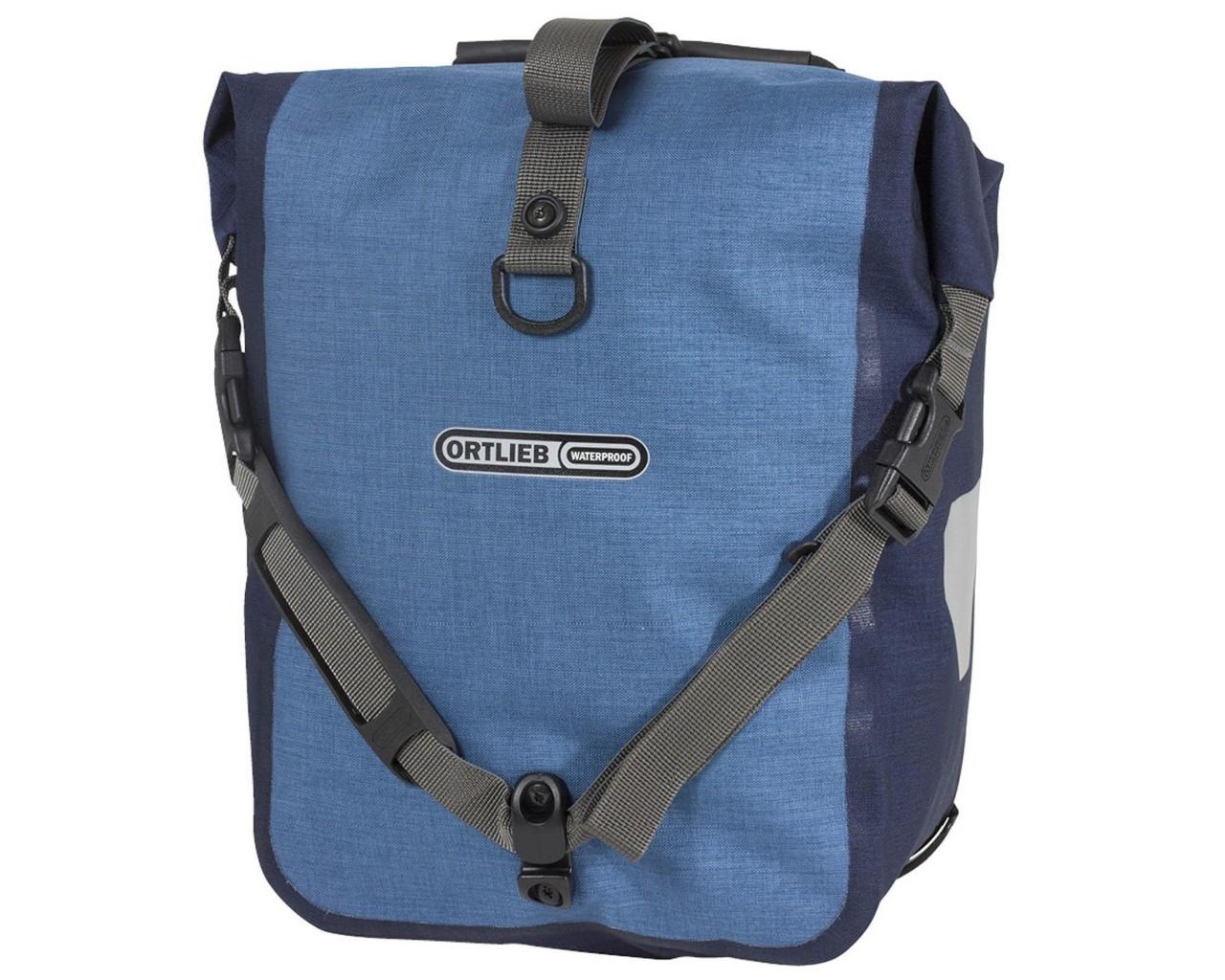 Ortlieb Front-Roller Plus QL2.1 waterproof cycle bags (pair) PVC-free | denim-stealblue