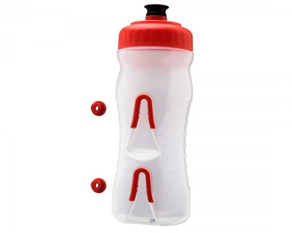 Fabric Wasserflasche mit integriertem Halter 600 ml | clear-red