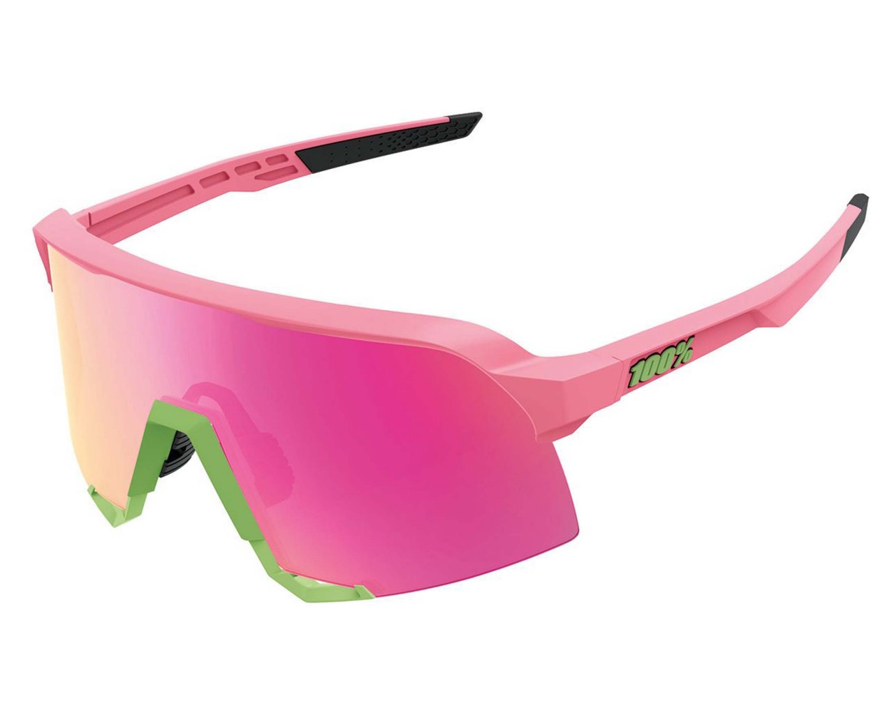100% S3 - Mirror Lens Bicycle sunglasses | matte washed out neon pink