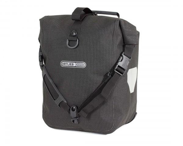 Ortlieb Front-Roller QL2.1 High Visibility wasserdichte Fahrradtaschen (Paar) PVC-frei | black refle