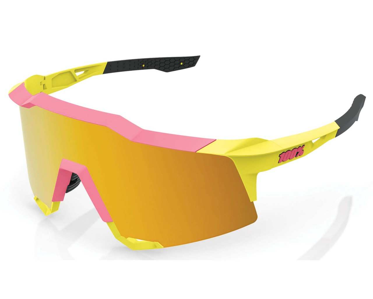 100% Speedcraft Tall - Mirror Lens Sport-Sonnenbrille | washed out neon yellow