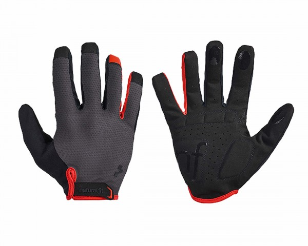 Cube Natural Fit Gloves Long Finger | grey n red