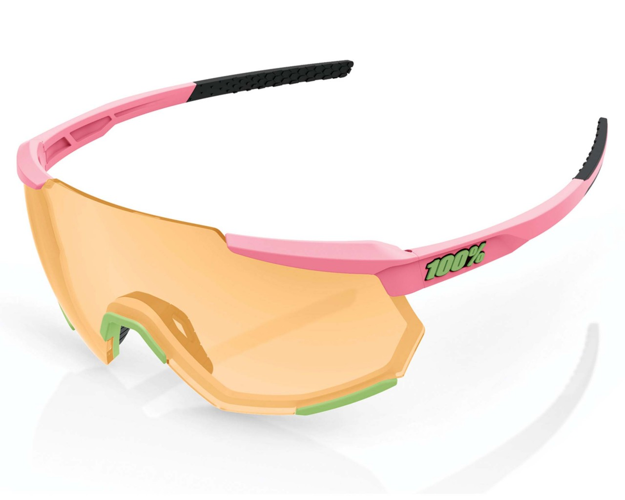 100% Racetrap Smoke Lens - Sports Sunglasses | matte washed out neon pink