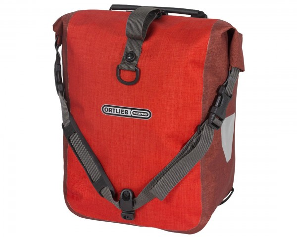 Ortlieb Front-Roller Plus QL2.1 waterproof cycle bags (pair) PVC-free | signal red-chili