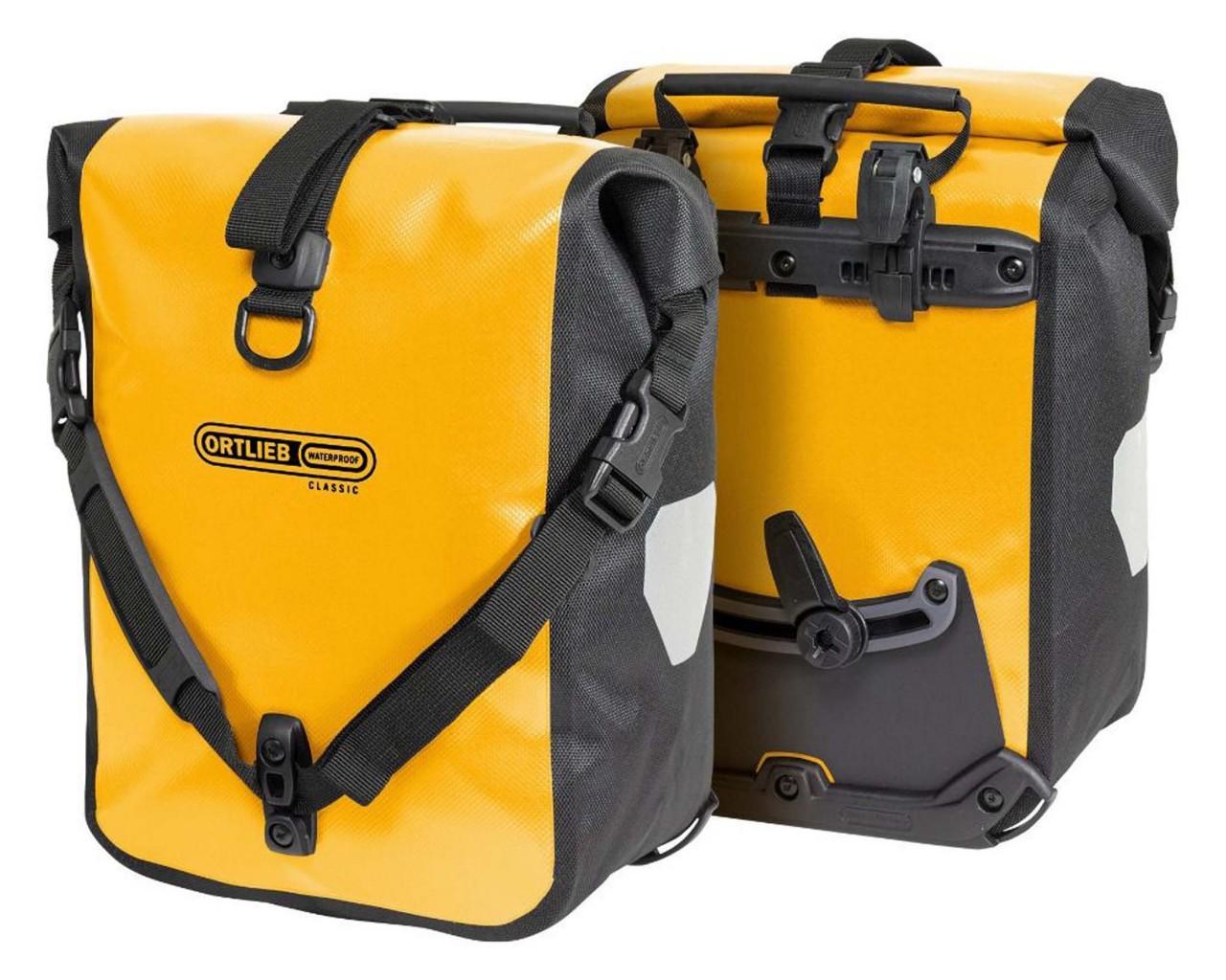 Ortlieb Sport-Roller Classic 2x 12 Liter wasserdichte Fahrradtaschen (Paar) | sun yellow-black