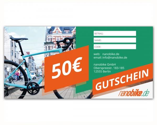 nanobike Geschenkgutschein 50 EUR