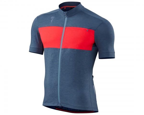 Specialized Roubaix Drirelease Merino Kurzarm-Trikot | dust blue-acid red