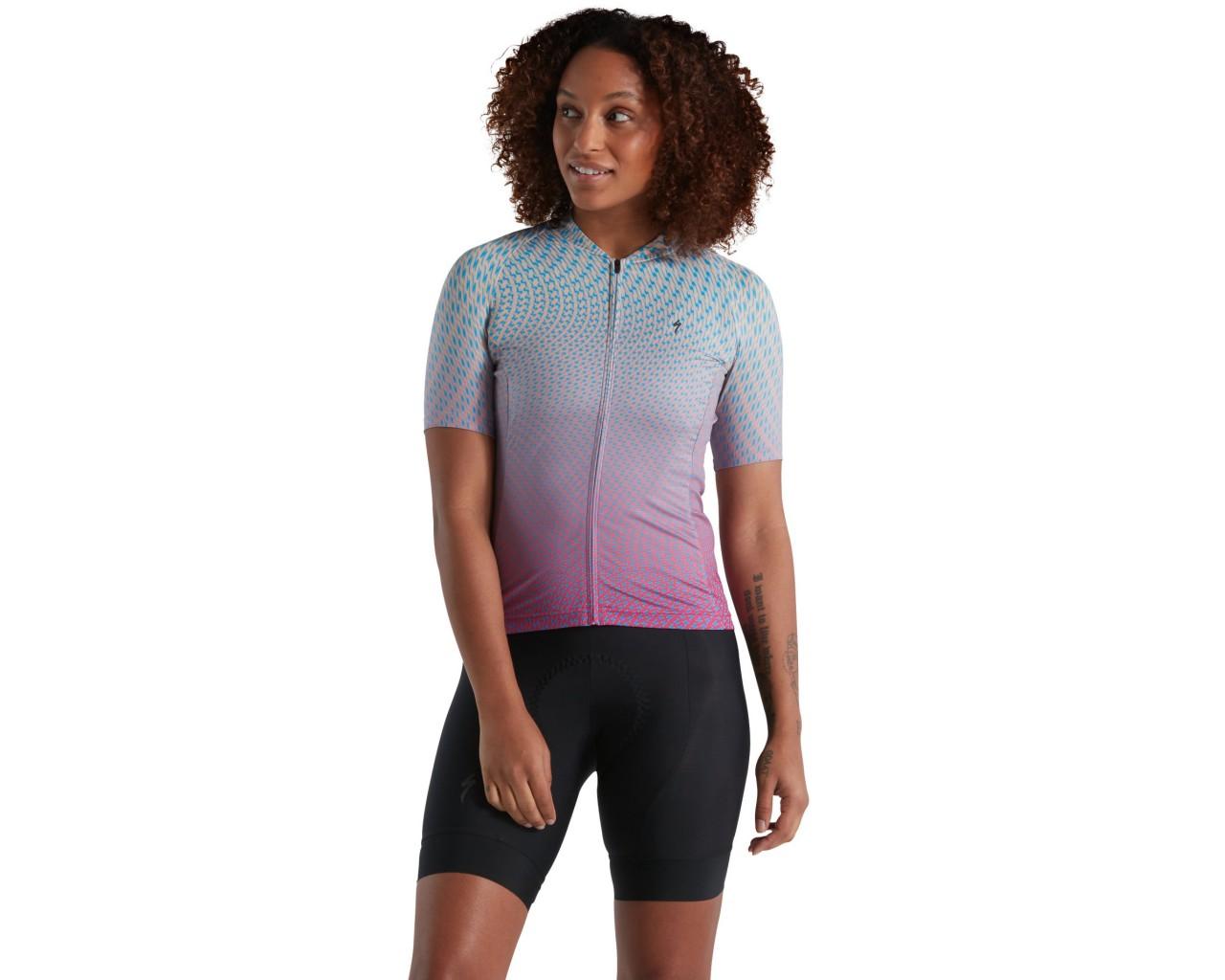 Specialized SL Bicycledelics Damen Trikot kurzarm | ice papaya-pro blue