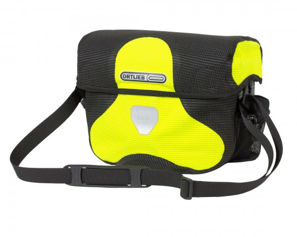 Ortlieb Ultimate Six High Visibility 7 litres waterproof Bicycle handlebar bag without Mounting Set PVC free | neon yellow-black reflex