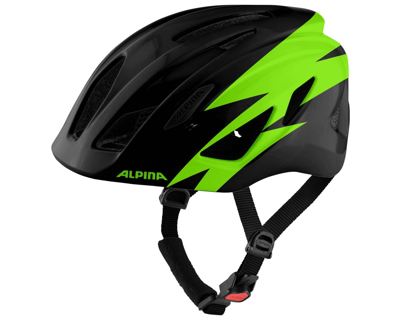 Alpina Pico Kinder Fahrradhelm | black-green gloss 50-55