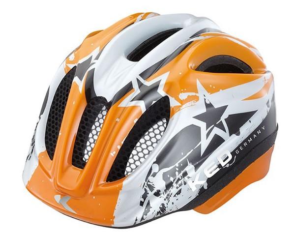 KED Meggy Kids Bike Helmet | Orange Stars