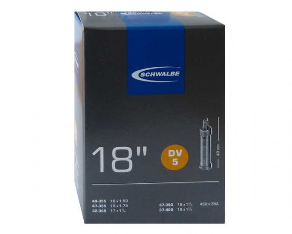 Schwalbe Schlauch 18 Zoll DV 5 -18x1.75 37-47-355 - 32 mm Fahrradventil