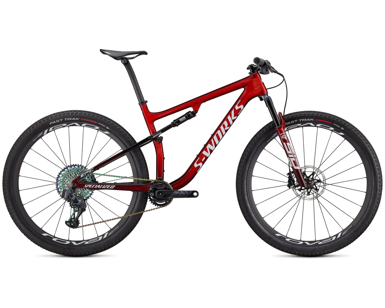Specialized S-Works Epic Carbon 29 - MTB Fullsuspension 2021   gloss red tint fade over brushed silver-tarmac black-white