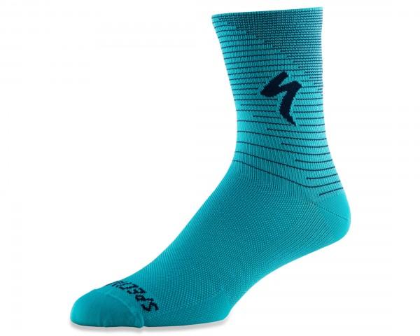 Specialized Soft Air Road Tall Socks | aqua-cast blue arrow