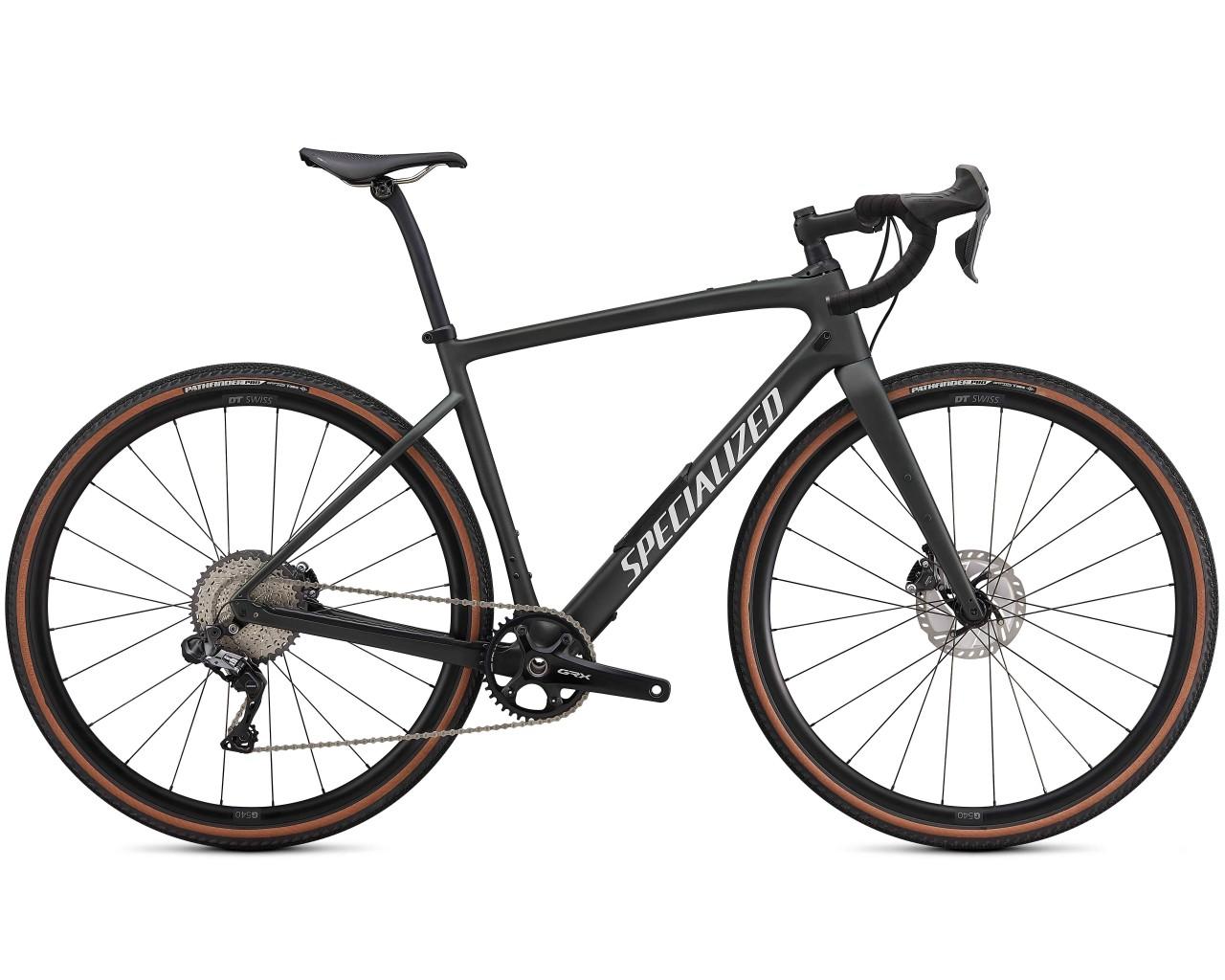 Specialized Diverge Expert Carbon - Gravel Bike 2021 | satin oak green metallic-gloss white-chrome-c